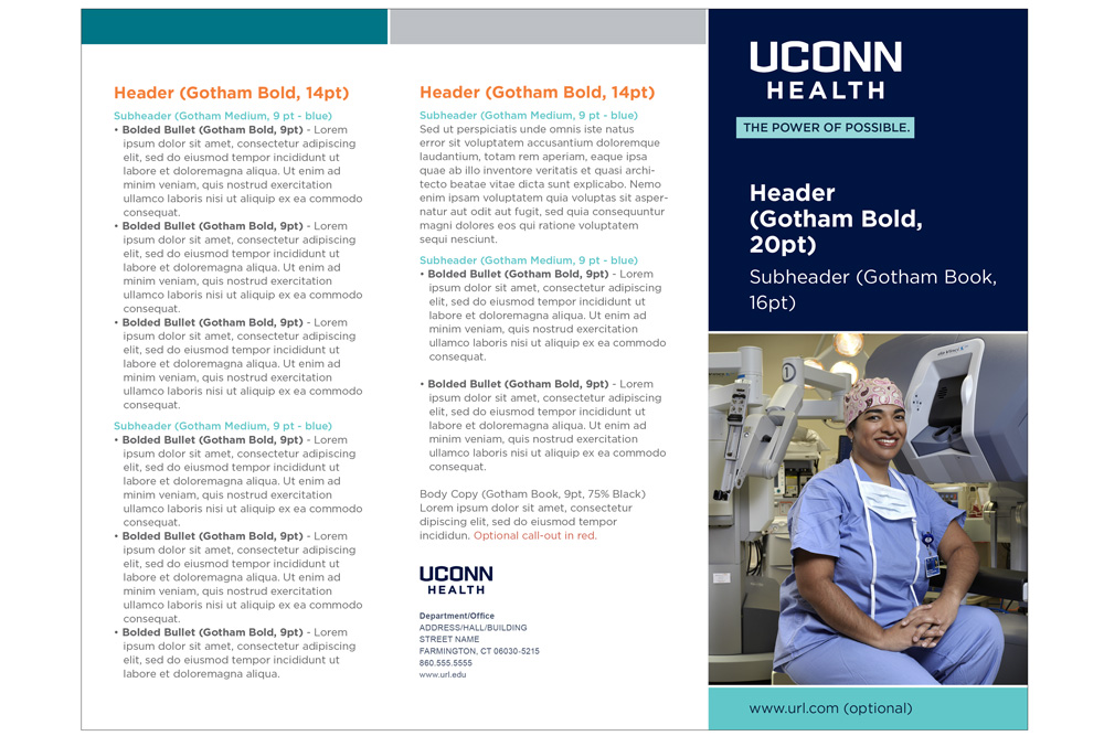 UConn Health 3 fold brochure example