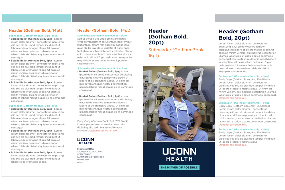 UConn Health 4 fold brochure example