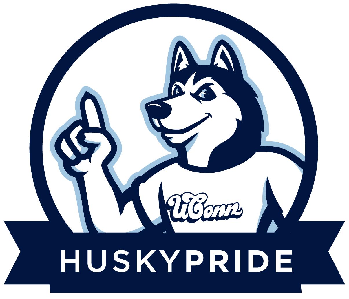 Husky Pride with Jonathan the Husky mascot badge