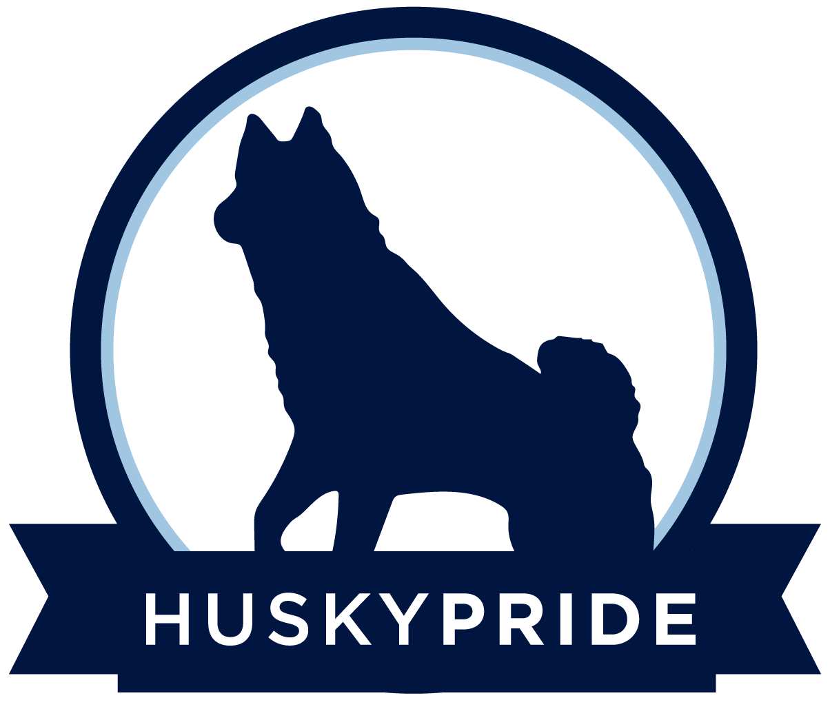 Husky Pride with Jonathan statue badge