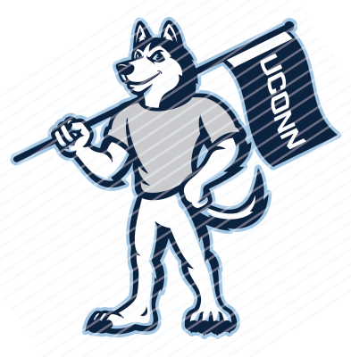Jonathan the Husky mascot with UConn flag