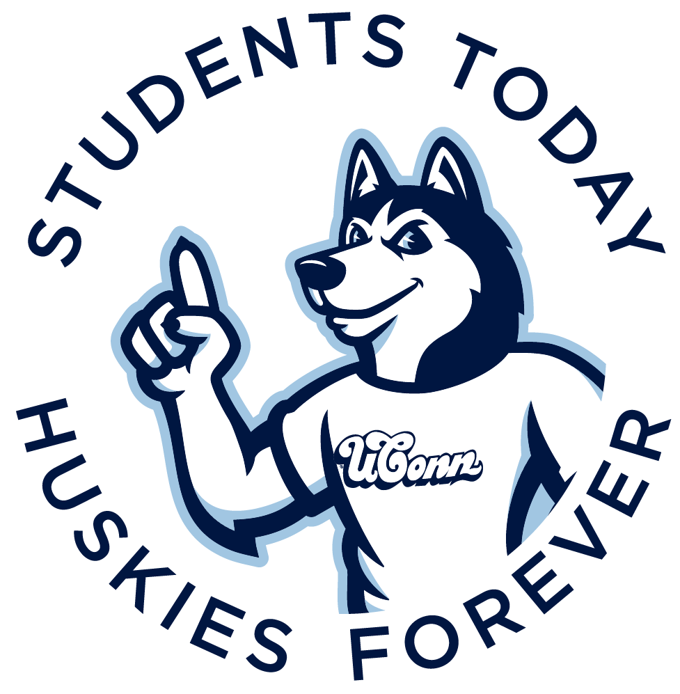 Students today. Huskies Forever. with Jonathan the Husky mascot